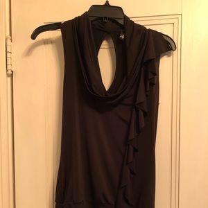 Black sleeveless top with front ruffle Medium